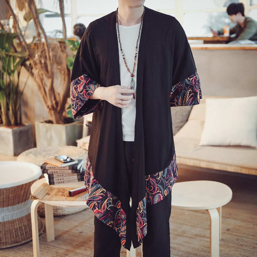 0a2d75855 New Arrive Spring Summer Dust coat male Traditional Chinese clothes  Cardigan coat Men National style printed