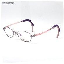 Kids Glasses Frame Purple Color Polish Stainless Steel Frame Plastic Memory Temple Eyeglasses Optical frames XY09014