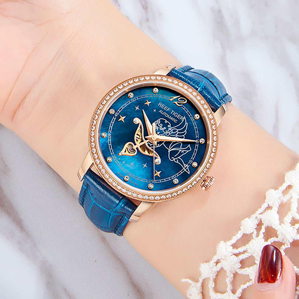 2019 Reef Tiger/RT Blue Dial Watches for Women Diamonds Automatic Watch Leather Band Rose Gold Fashion Watches RGA15502019 Reef Tiger/RT Blue Dial Watches for Women Diamonds Automatic Watch Leather Band Rose Gold Fashion Watches RGA1550