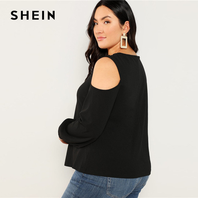 SHEIN Black Sexy Cut Out Cold Shoulder Lantern Sleeve Women Plus Size Blouse 2019 Spring Casual Solid Top Blouses 3 Colors 1
