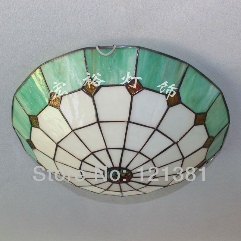 Tiffany Style Ceiling Light Stained Gl Lampshade Handcrafted Clic Lighting Fixtures 40cm Wide Simple Design Green In Lights From