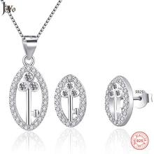 ФОТО jovo wedding jewelry set pendant necklace earring cz 925 sterling silver hollow-out key shape luxury brand female jewellery