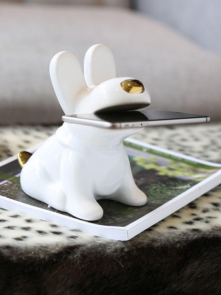Креативный керамический держатель для мобильного телефона с собакой Статуэтка домашний декор украшения комнаты украшение фарфоровая мила