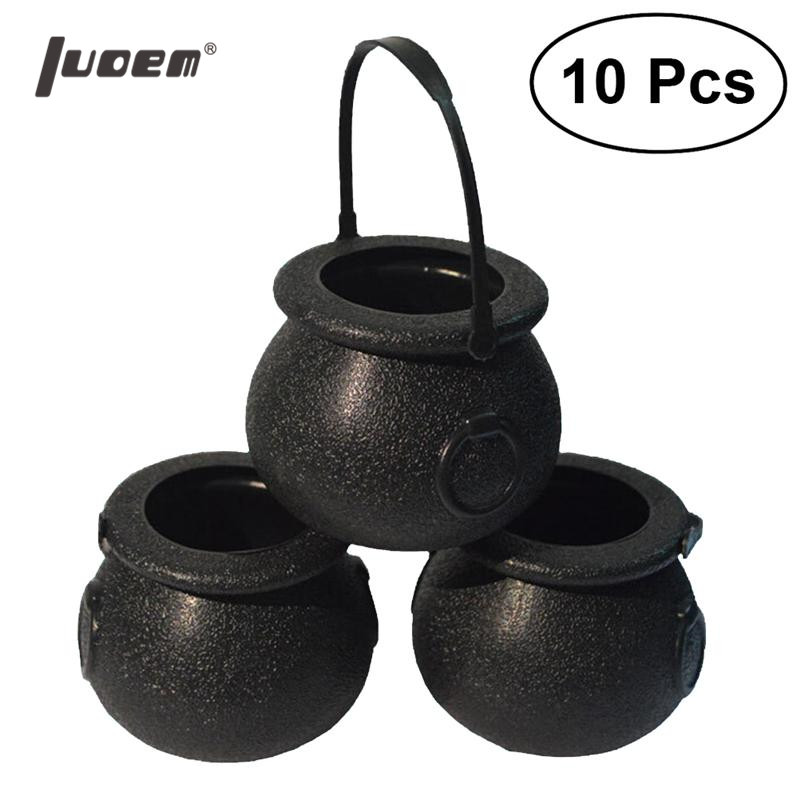10pcs Candy Bucket Halloween Party Favor Trick Or Treat Witchs Cauldron Candy Holder Candy Pail With Handle For Kids Children