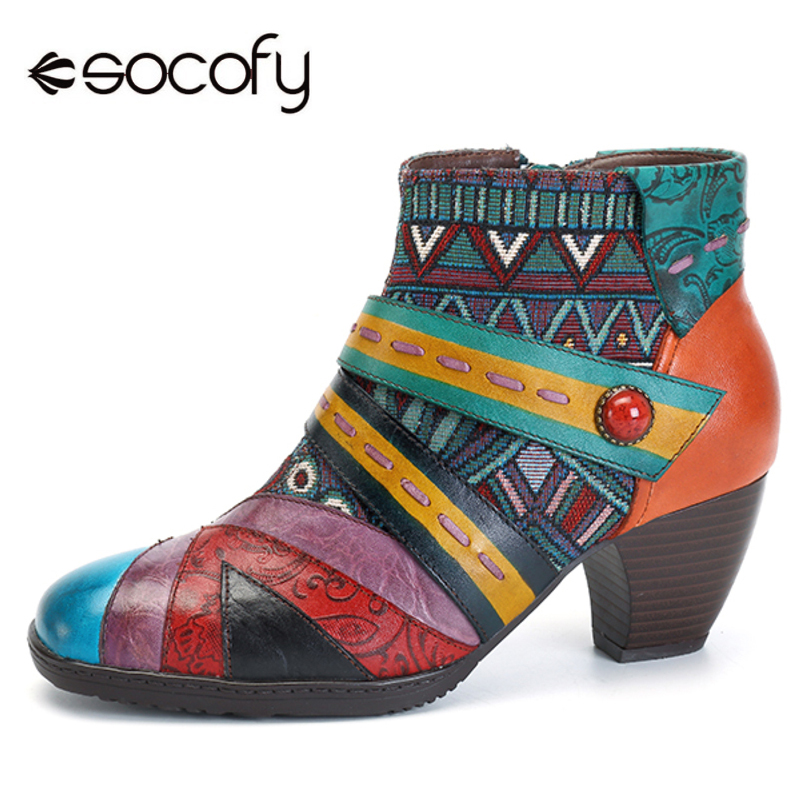 Socofy в богемном стиле кожаные сапоги Для женщин натуральная женская кожаная обувь в стиле пэчворк на молнии ботильоны женская обувь Демисез...