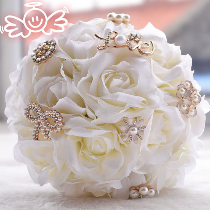 Bridal Real Flower Bouquets : Aliexpress buy artificial silk rose flower crystal
