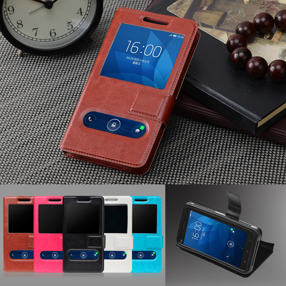 New item Fashion View Window For Intex Aqua Pride Case Universal 5.0 Flip Silicon Phone Case Free Cover Bags, F5