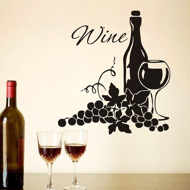 Dos racimos de uvas y botella de vino DIY alta calidad vinilo cocina ...