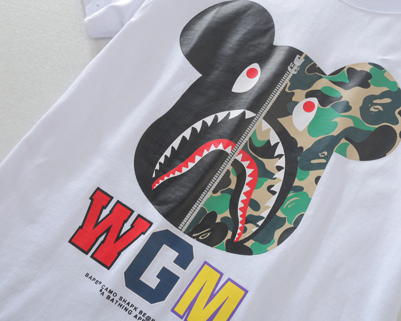 753ecebb Bape T shirt WGM Tshirt Homme Men Deer Shark T Shirt Unisex O neck Summer  Fitness Hip Hop Tshirt Sport Tees Cotton Dry Fit Tops -in T-Shirts from  Men's ...