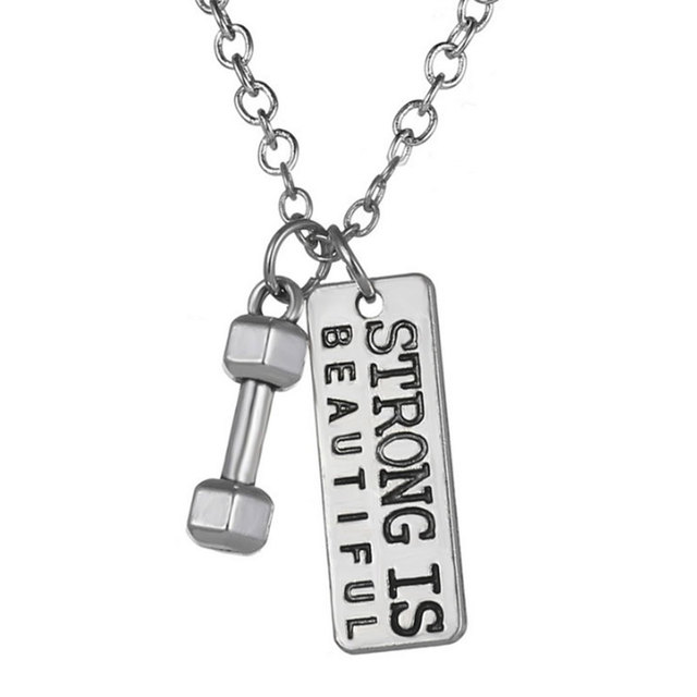 Strong Is Beautiful Necklace Dumbbell Necklace Charm Barbell Fitness - gym workout for weight loss