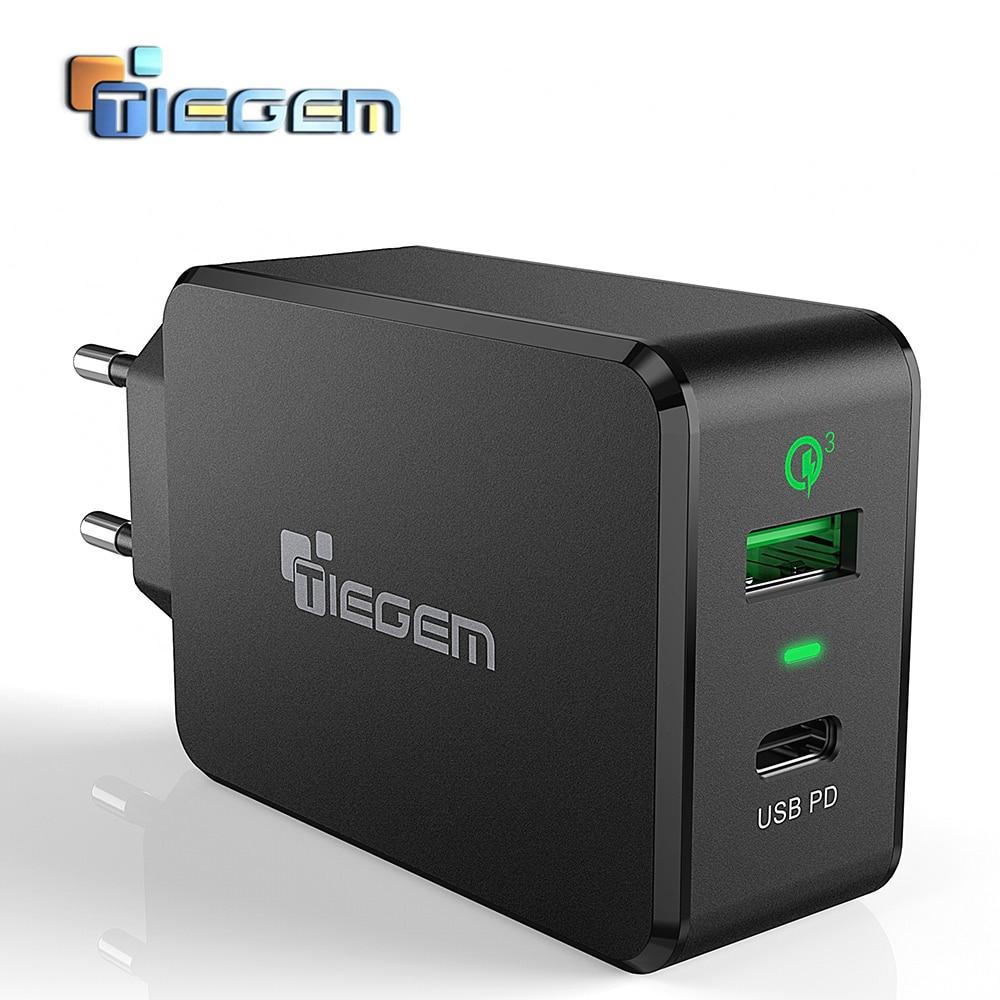 TIEGEM QC3.0 USB Mur Chargeur Rapide Type-C Universal Mobile Téléphone Type C PD Chargeur pour Nintendo Commutateur Macbook nexus 6 p/5X