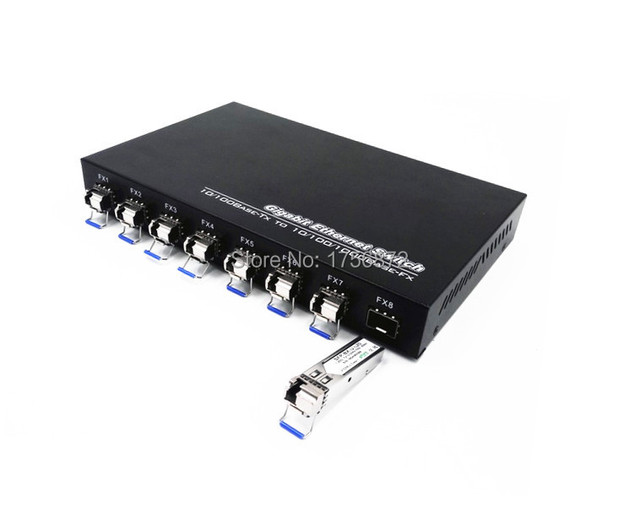 1 unidades 8F2E 1000 m SFP conmutador de 8 puertos 2 ethernet de fibra puertos de fibra única fibra sfp convertidor de medios de fibra de ethernet giga interruptor