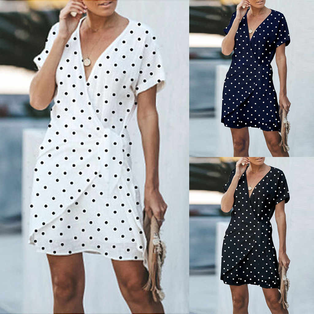 Women Summer Boho Short Sleeve Sexy V-neck Dot Printed Party Beach Dresses Vintage Polka Dot Summer Beach Dress Sexy Deep V-Neck