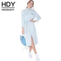 HDY Haoduoyi Для женщин ретро джинсовое платье передний Ремень Повседневное Винтаж Blue Solid рубашка-миди роковой Vestido Лидер продаж