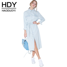 HDY Haoduoyi Women Retro Denim Dress Front Belt Casual Vintage Dress Women Blue Solid Midi Shirt Dress Robe Femme Vestido