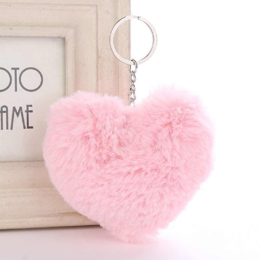 Pompom bonito Fluffy Plush Keychain da Forma Do Coração Do Falso Pele De Coelho Bolsa Pingente Chaveiro Carro Das Mulheres Fivela Moda Jóias