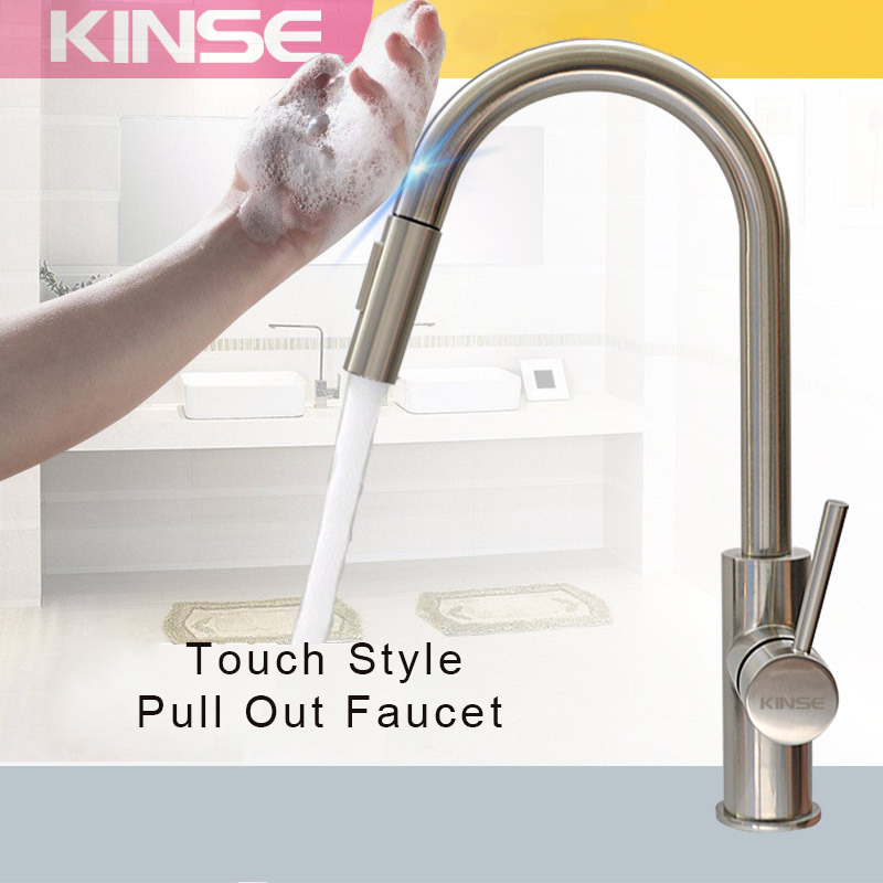 Touchless Sense Pull Out Kitchen Faucet 304sus 2 Water Outlet Touch