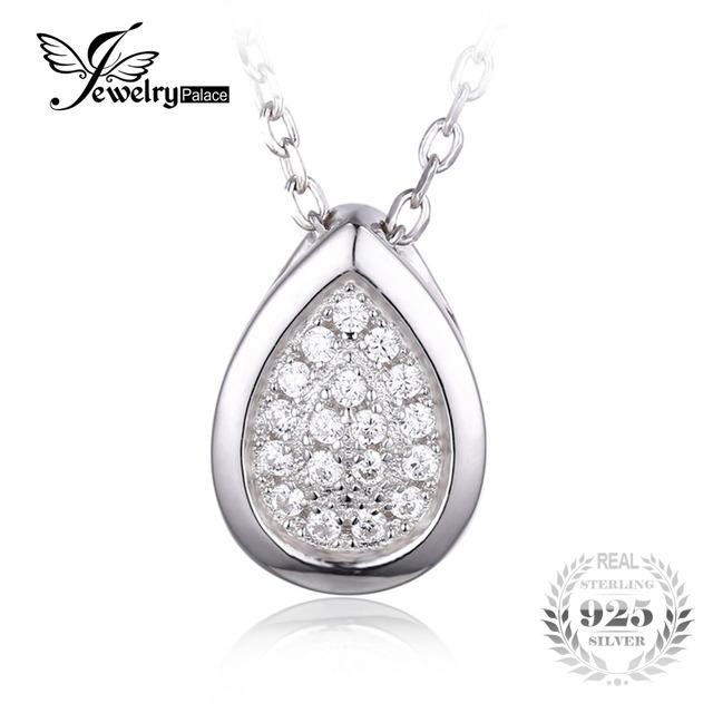 Jewelrypalace 925 cubic zirconia teardrop collar pendiente de cadena 45 cm de compromiso joyería de moda regalo para las mujeres