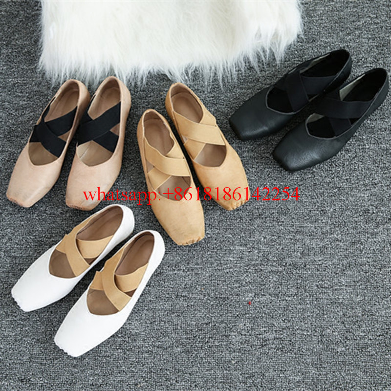 ФОТО Soft Leather Ballet Flats Women Retro Cross Straps Shoes Comfortable Shallow Mouth Single Shoes Flat Shoes Women Spring/Autumn