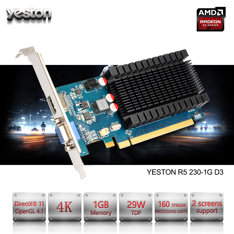 Yeston Radeon R5 230 GPU 1GB GDDR3 64 bit Gaming Desktop computer PC Video Graphics Cards support VGA/HDMI PCI-E X16 2.0 new for msi ms 16f1 16f2 16f3 1656 1727 notebook pc graphics video card ati mobility radeon hd 5870 hd5870 1gb gddr5 drive case