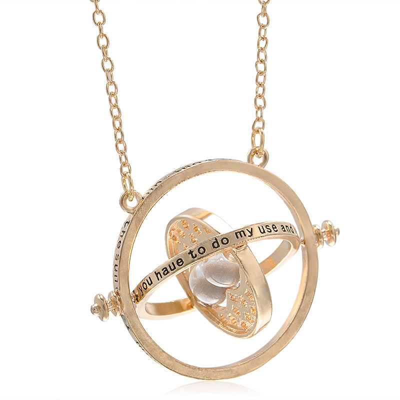 <font><b>Harry</b></font> <font><b>Potter</b></font> <font><b>the</b></font> <font><b>Prisoner</b></font> <font><b>of</b></font> <font><b>Azkaban</b></font> Hermione Granger Time-Turner necklace rotating spins gold hourglass