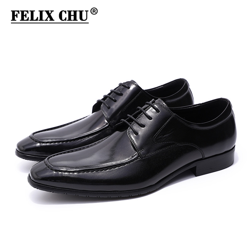 FELIX CHU Classic European Style Mens Black Derby Shoes Genuine Cow Leather Lace Up Smooth Male Dress Shoes For Office Business felix chu luxury mens dress shoes genuine leather pointed toe brogue derby shoes green black male lace up formal shoes leather