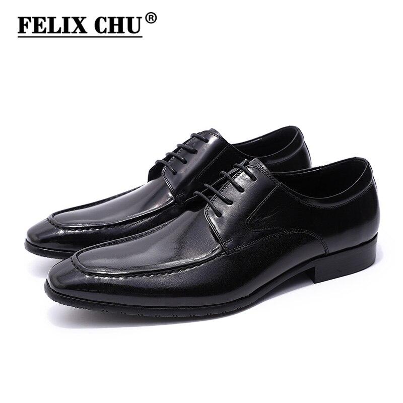 FELIX CHU Classique Européenne Style Mens Noir Derby Chaussures Véritable Vache En Cuir Dentelle Jusqu'à Lisse Mâle Robe Chaussures Pour Bureau entreprise