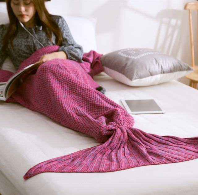 1pc Sofa Crochet Mermaid Tail Blanket Soft Knitted Mermaid Blanket On The Bed for Baby Adults