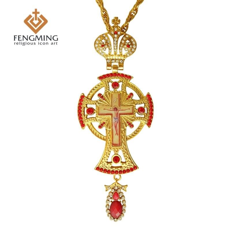 2017 Orthodox greek pastor cross Jesus crucifix pendants plated gold rhinestones classic cross chain religious craft