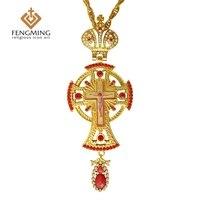 2017 الأرثوذكسية اليونانية القس الصليب يسوع الصليب المعلقات مطلي الذهب الراين الكلاسيكية عبر سلسلة الدينية الحرفية لوازم