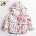2016 New Winter Baby Girl Jackets Girls Outerwear Coats Winter Girl Coat Winter Hooded Warm Outerwear Cartoon Children Jackets