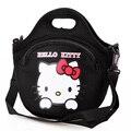 De alta qualidade neoprene Hellokitty gato saco de mulher, Saco de caixa de almoço, Compras saco de mão diagonal red black pink frete grátis