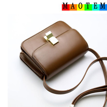 MAOTEM Factory Price!Women Classic Box Leather Messenger Bag,Female Crossbody Small Flap Bags Famous Stewardess Shoulder Bags