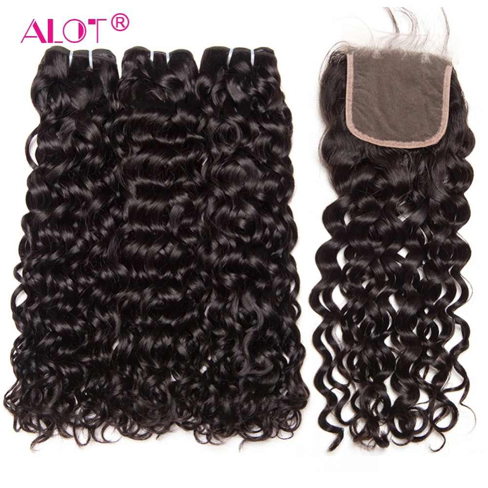 Alot Brazilian Water Wave 3 Bundles With Closure Human Hair Bundles With Closure Remy Brazilian Weave With Closure