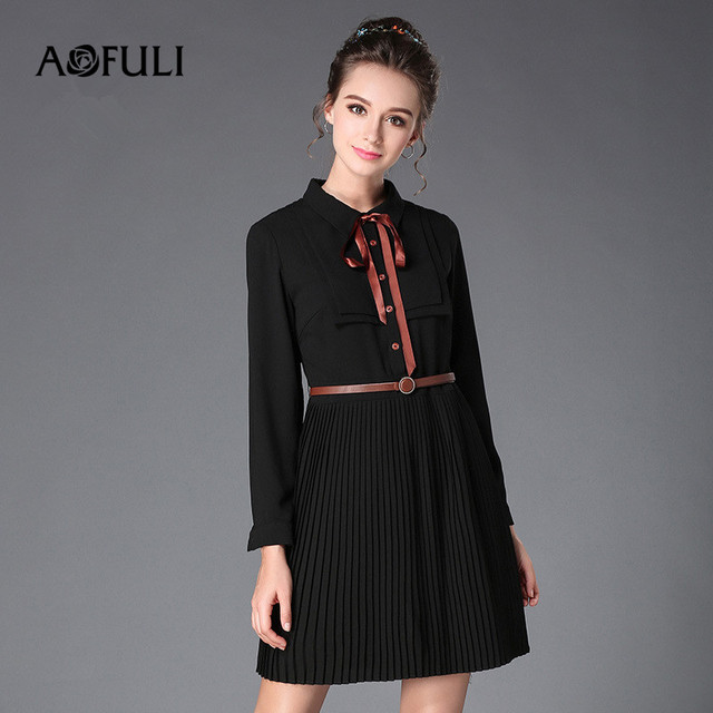 AOFULI L- 3XL 4XL 5XL Plus size Dress 2017 Autumn Winter Women Bowtie Long  sleeve Office Ladies Pleated Black Shirt Dresses 233c55f05b45
