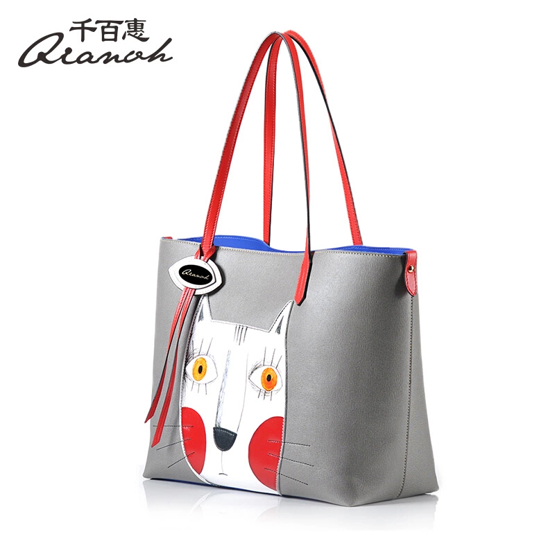 ... buy online a37a9 cb18f Woman Bags Handbag Genuine Leather Bag QIANBH  Brand Cartoon Cat Totes Womens ... 7517569884179