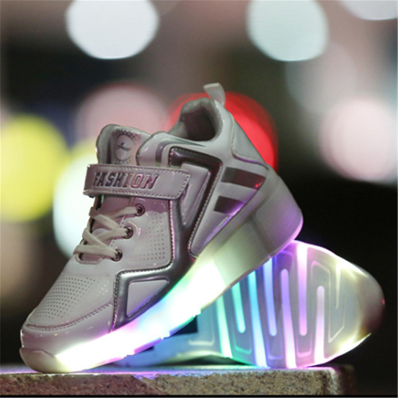 2017New Children Led Light Shoes With One/Two Wheels Kids Pu Leather High Help Roller Skate Shoes Boys Girls Sneakers Shoes 2016 new arrival fashion kids shoes pu leather children shoes for boys