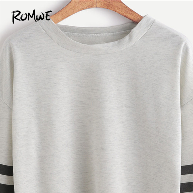 bc0ba12131b ROMWE Women Ladies T shirt Long Sleeve Crop Top Autumn Clothes Women Drop  Shoulder Varsity Striped Sleeve T shirt-in T-Shirts from Women's Clothing  on ...