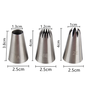 Image 3 - 3 Pcs/set Icing Piping Pastry Nozzle Tips Baking Tools Cream Cake Decorating Set Stainless Steel Nozzles Cupcake