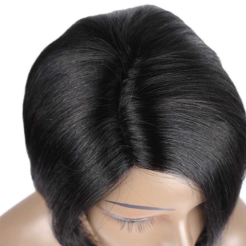 Прямой парик бразильский Боб человеческие волосы парики для черных женщин предварительно сорвал Детские волосы короткие remy волосы 150% стиль меня