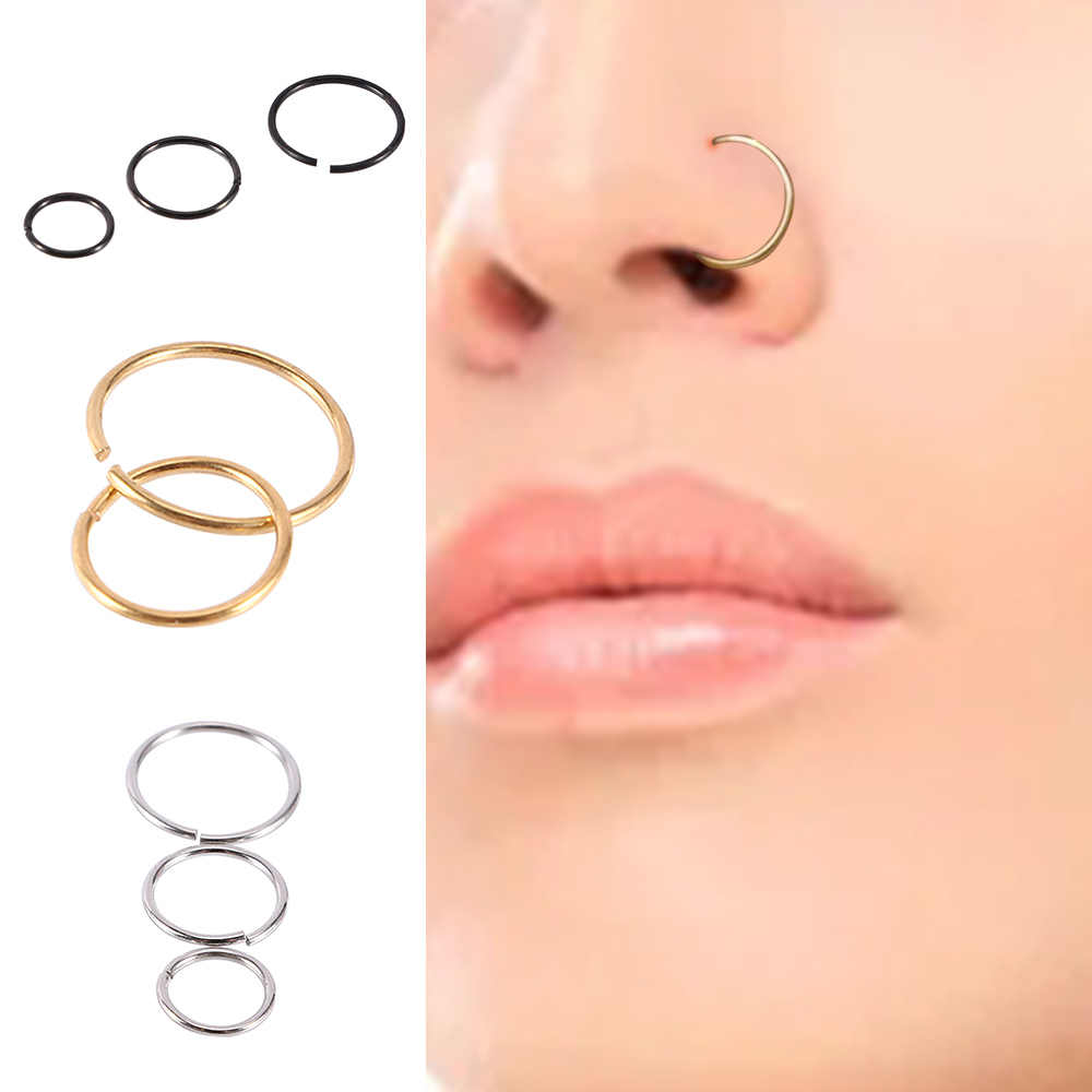 SURGICAL STEEL PIERCED NOSE LIP HOOP RING STUD 8 MM WITH TINY A CRYSTAL