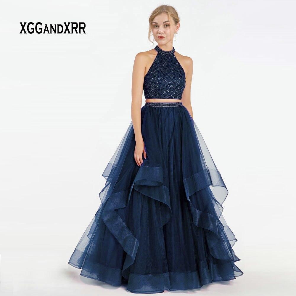 Bleu marine deux pièces robe de bal 2019 licou épaule dénudée à volants longue formelle Tulle robe Gala Jurken à volants filles robe de soirée