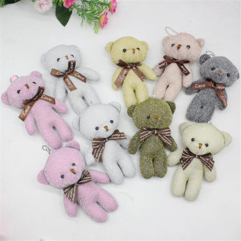 50Pcs lot Mixed Colors 12cm Joint Teddy Bear Plush Toys Keychain Woman Bag Phone Pendant Bear