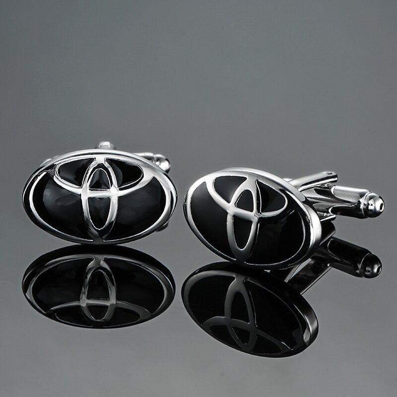 DY New high-end luxury brand round black TOYOTA car logo Cufflinks fashion Mens wedding French shirt Cufflinks free shipping