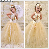 Girl Tutu Dress Gold Ivory Couture Satin&Shabby Flower Lace Headband Baby Girl Birthday Party Dress Toddler Photo Props 2018