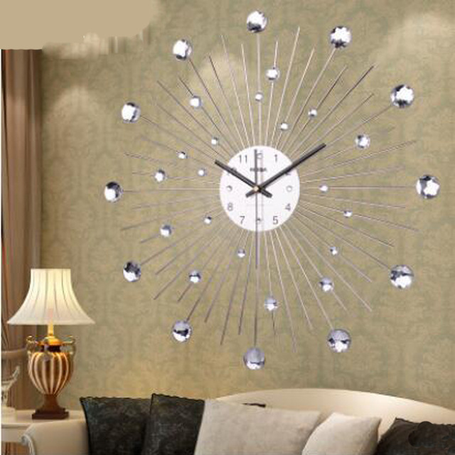 Living Room Wall Clocks With Ottoman Personalized Customization Diamante Home Decorative Large Clock Quartz Wrought Iron For