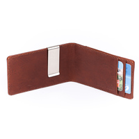 Money Clip For Men Genuine Italy Cow Leather Stainless Steel Billfold Wallet Brand Cash Holder Clip