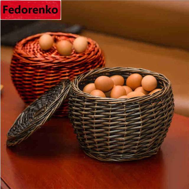 Pastoral Woven Wicker Rattan Eggs Baskets With Lid Natural Wicker