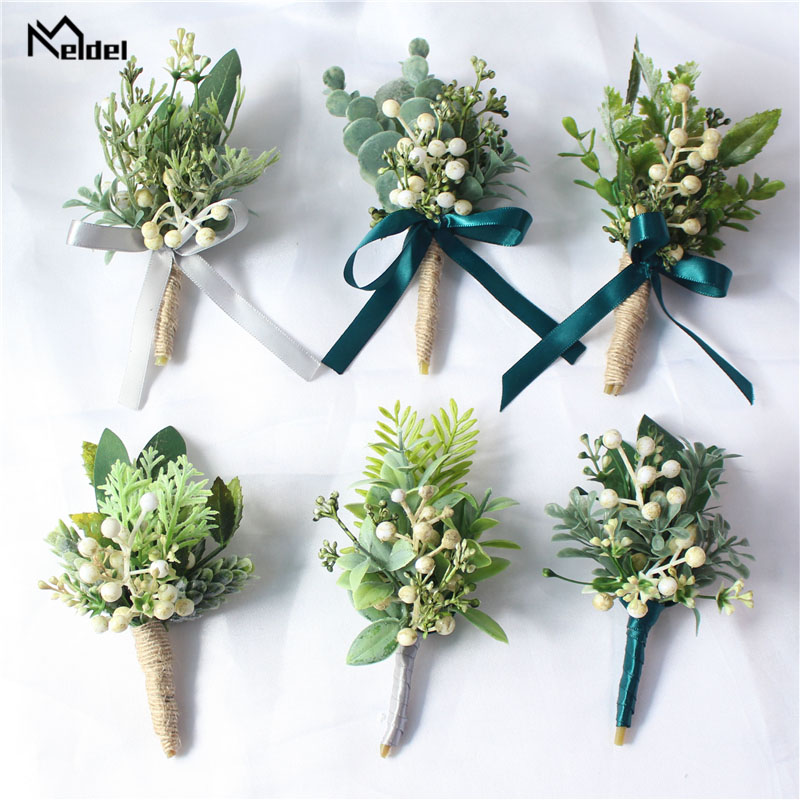 Meldel Boutonniere Groom Corsages White Green Berries Artificial Eucalyptus Plant Leaf Pine Needle Forest Style Wedding Supplies
