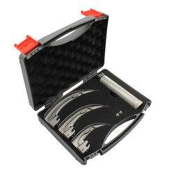 Adulto anestésico profissional de aço inoxidável laringoscópio vet laringoscópio ferramenta de detecção de fibra óptica para laringoscópio medic